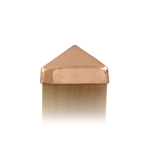Front view of 4x4 Copper Pyramid Post Cap