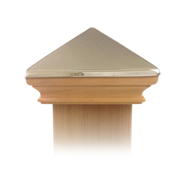 West Indies Wood Post Cap w/ Stainless Pyramid - 4x4, 5x5, 6x6, 4x6