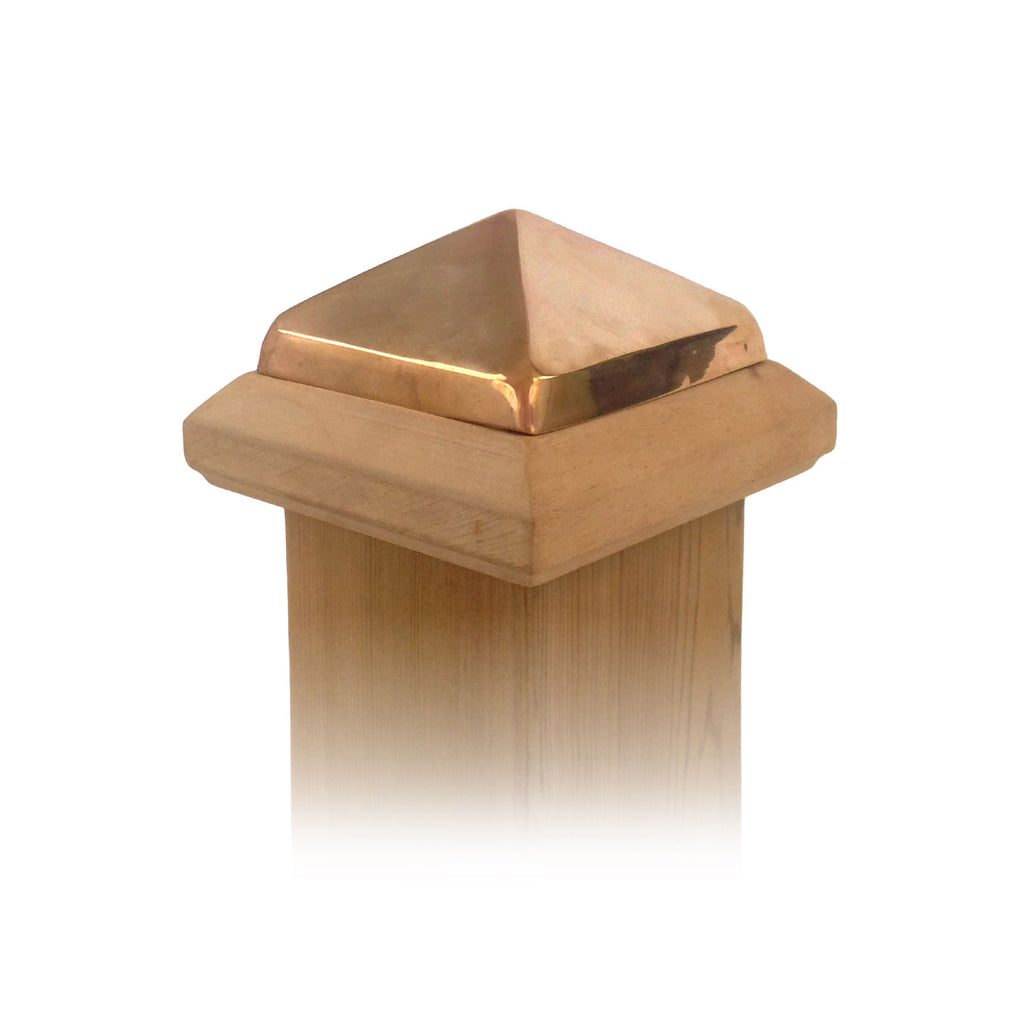 Angle view of 4x4 Traditional Wood Post Cap w/ Copper Pyramid
