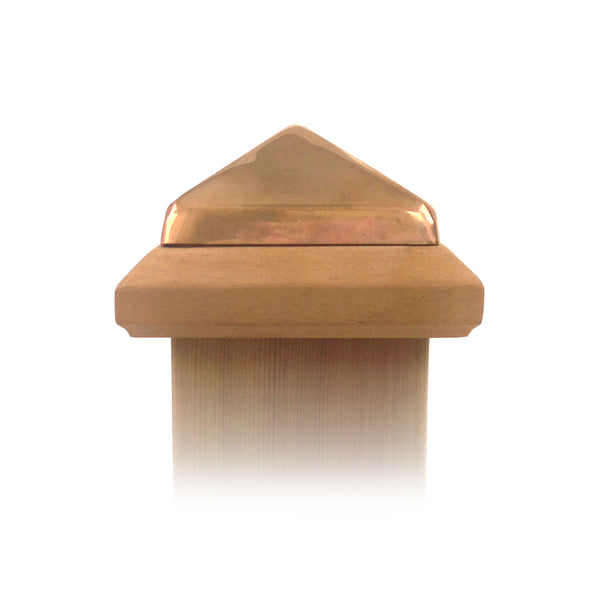 Front view of 4x4 Traditional Wood Post Cap w/ Copper Pyramid