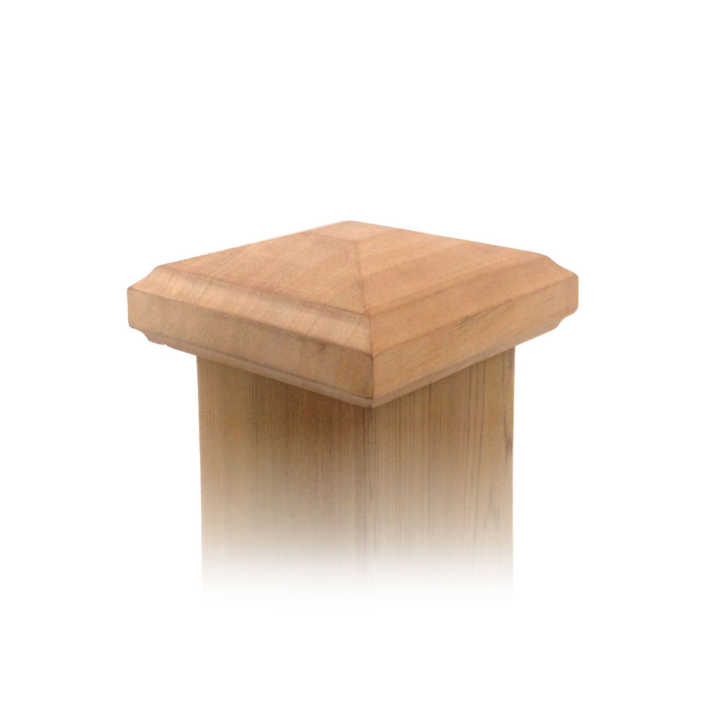 Angle view of 4x4 Traditional Pyramid Wood Post Cap