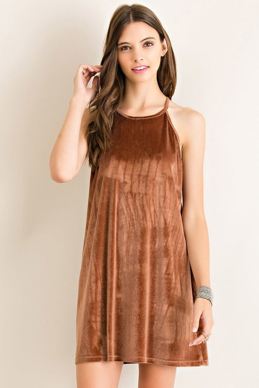 Camel Velvet Shift Dress