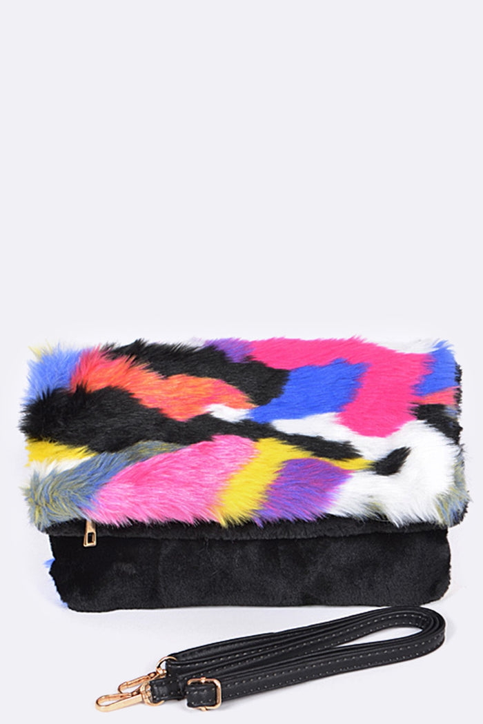 Multi Colored Fur Clutch Bag