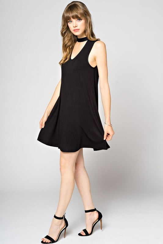 V-Cutout Front Knit Dress