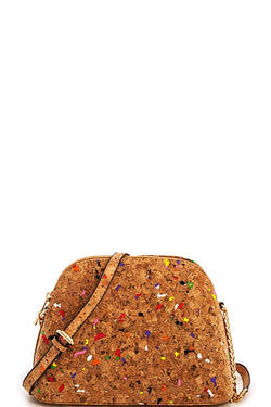 Color Speckled Cork Bag