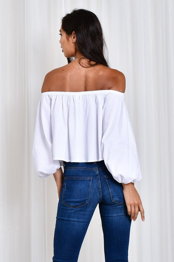 White Blossom Off Shoulder Top