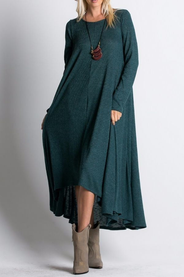 Ribbed Maxi Dress -Dark Teal
