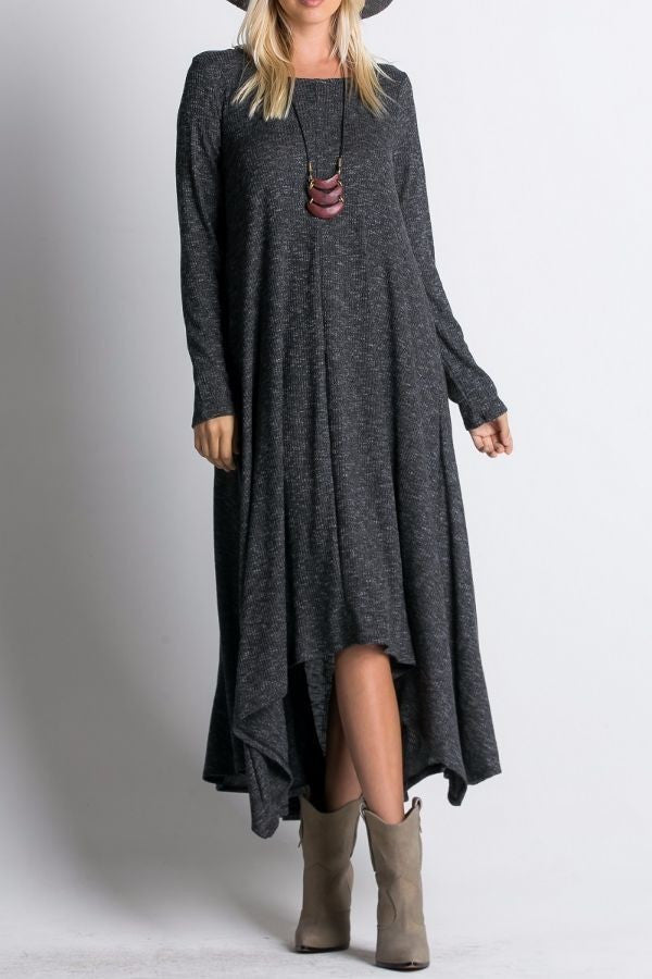 Ribbed Maxi Dress -Charcoal