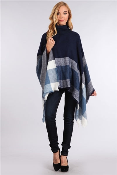 Plaid Poncho -Blue