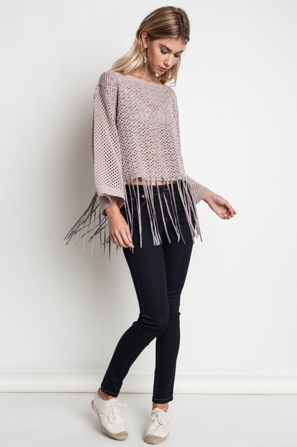 Chunky Knit Fringe Sweater