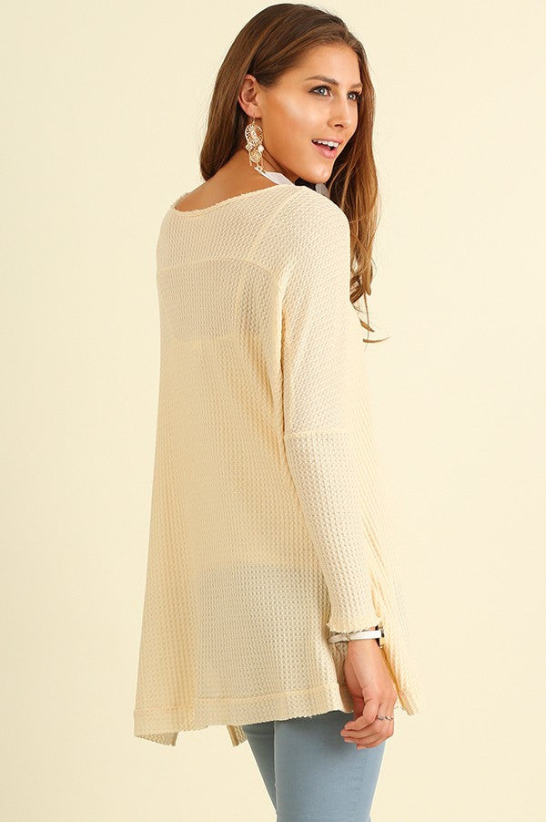 Oversized Knit Top w/ Raw Neckline