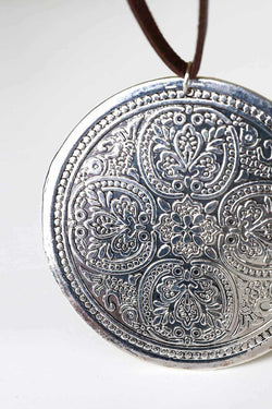 Spanish Leather Medallion Necklace