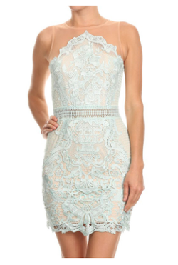 Lace Sleeveless Mini Bodycon Dress