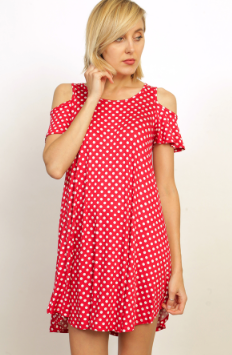 Polka Dot Cold Shoulder Dress