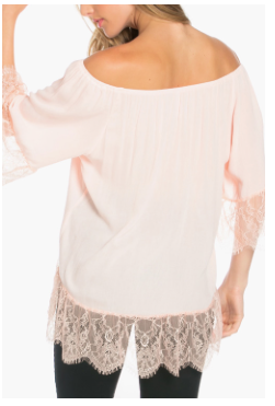 Solid Off Shoulder Lace Trim Top -White
