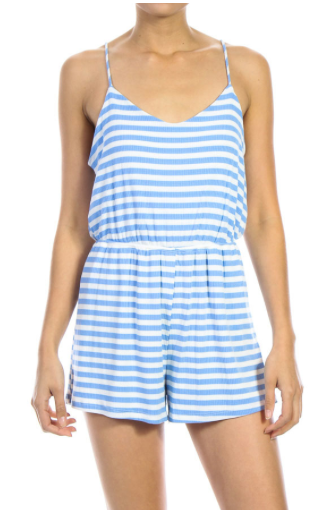 Stripe Print Ribbed Romper