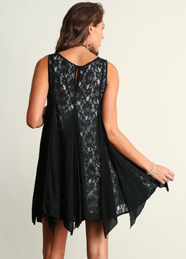 Sleeveless Ruffles and Lace Dress