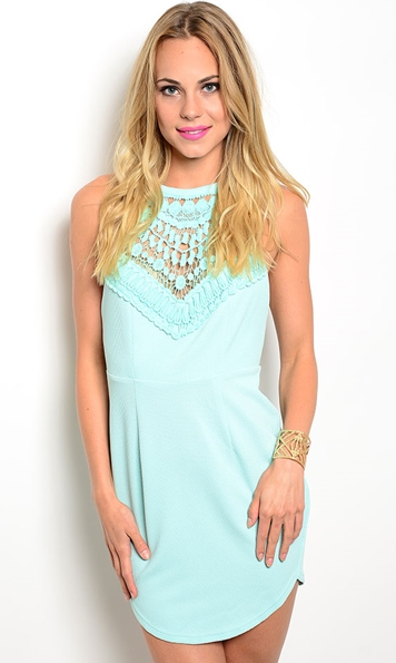 Detailed Mint Bodycon Dress