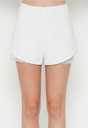 Lace Detail Shorts -White