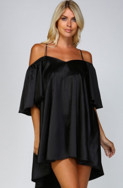 Angel Sleeves Satin Dress