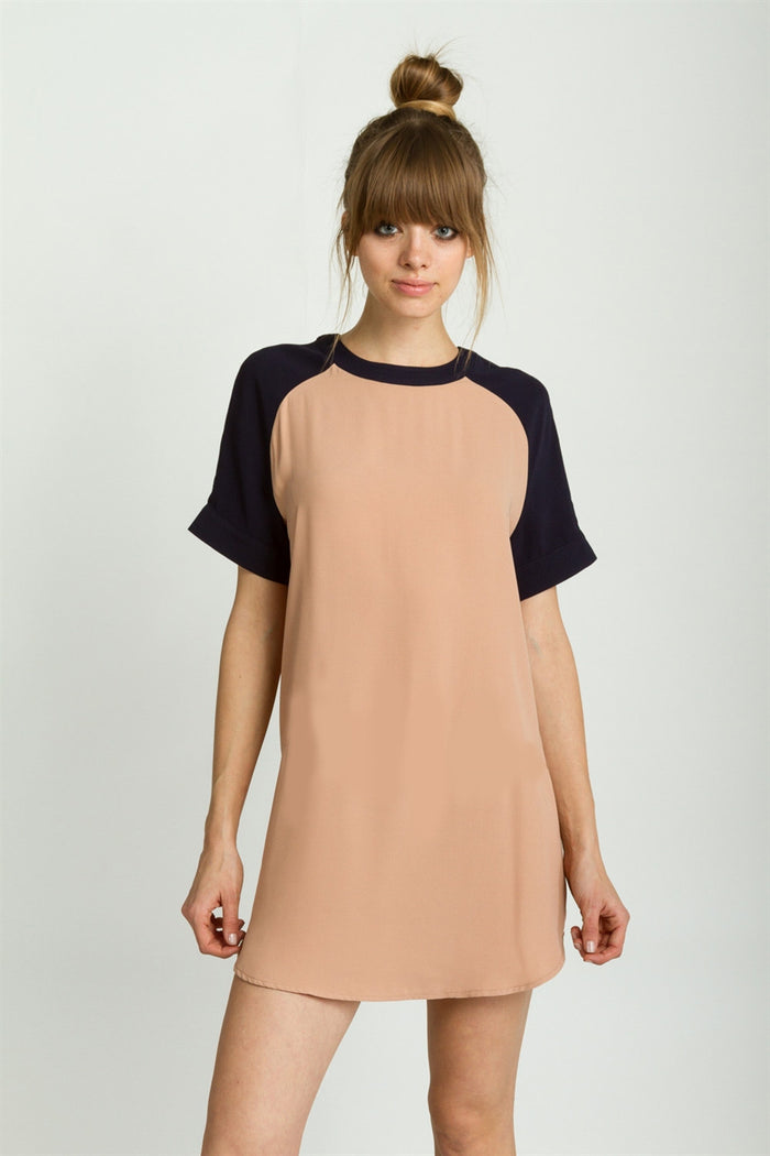 Navy/Beige Colorblock Dress