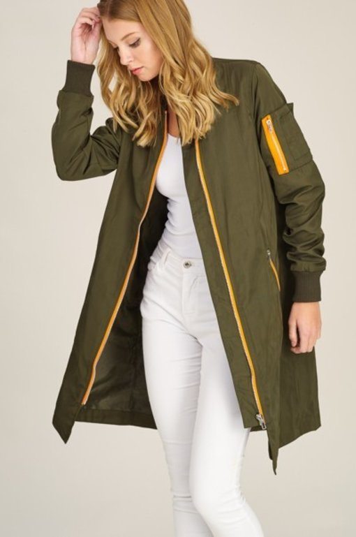 Extra Long Bomber Jacket -Green/Orange
