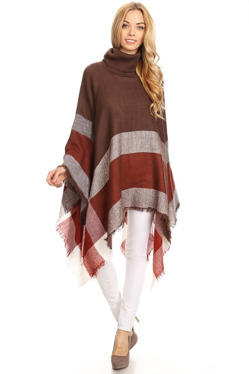 Plaid Poncho -Brown