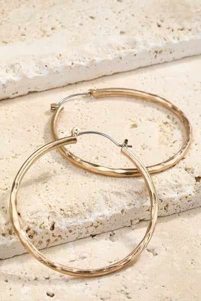 Hammered Detail Hoop Earrings