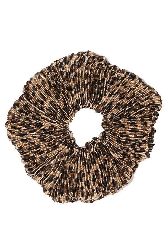 Pleated Leopard Scrunchies