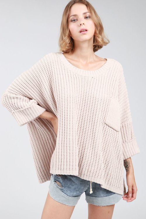Waffled Pullover Sweater