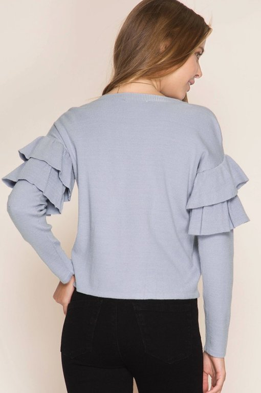 Ruffle Sleeve Sweater -Peach