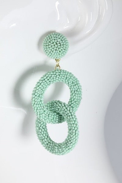 Double Ring Beaded Earrings -Mint
