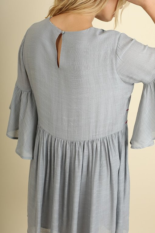 Cool Grey Embroidered Dress