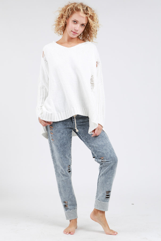 Oversized Distressed Hoodie