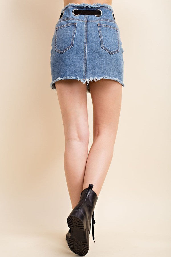 Belted Denim Skirt