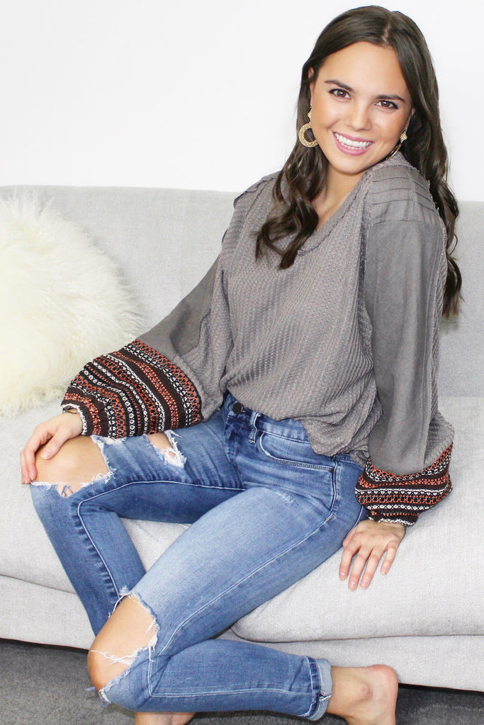 Mocha-Gray Puff Sleeve Top