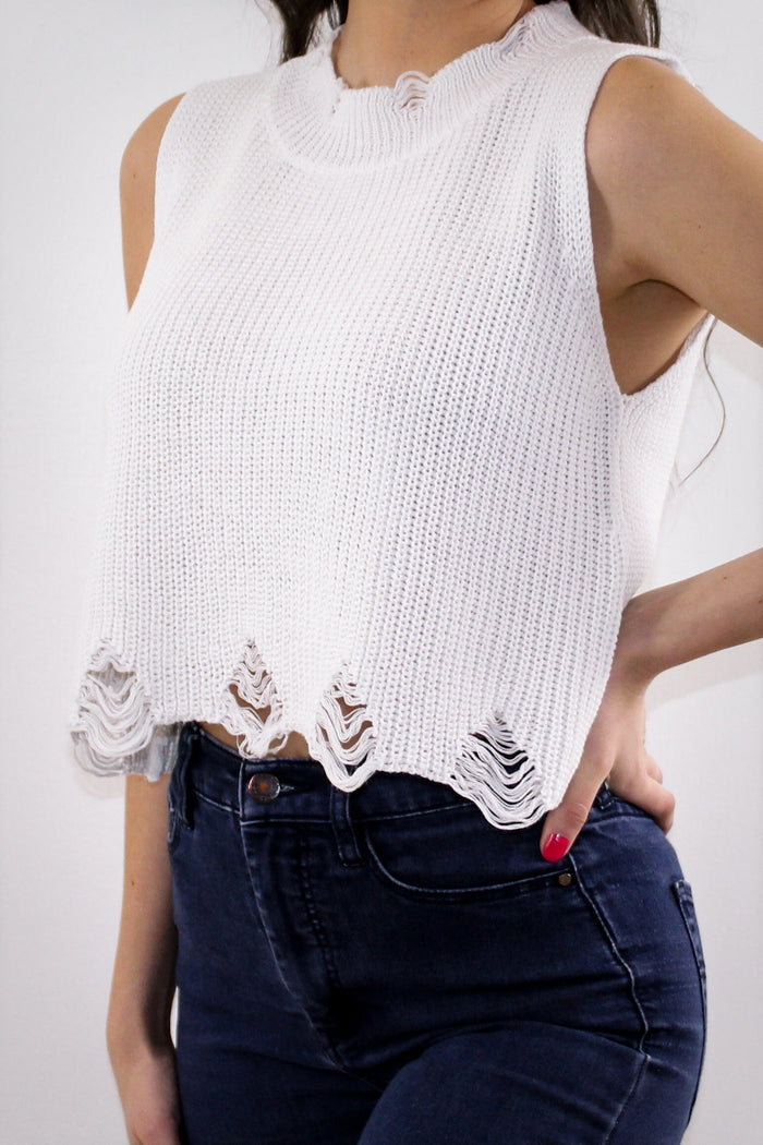 Distressed Knit Crop Top