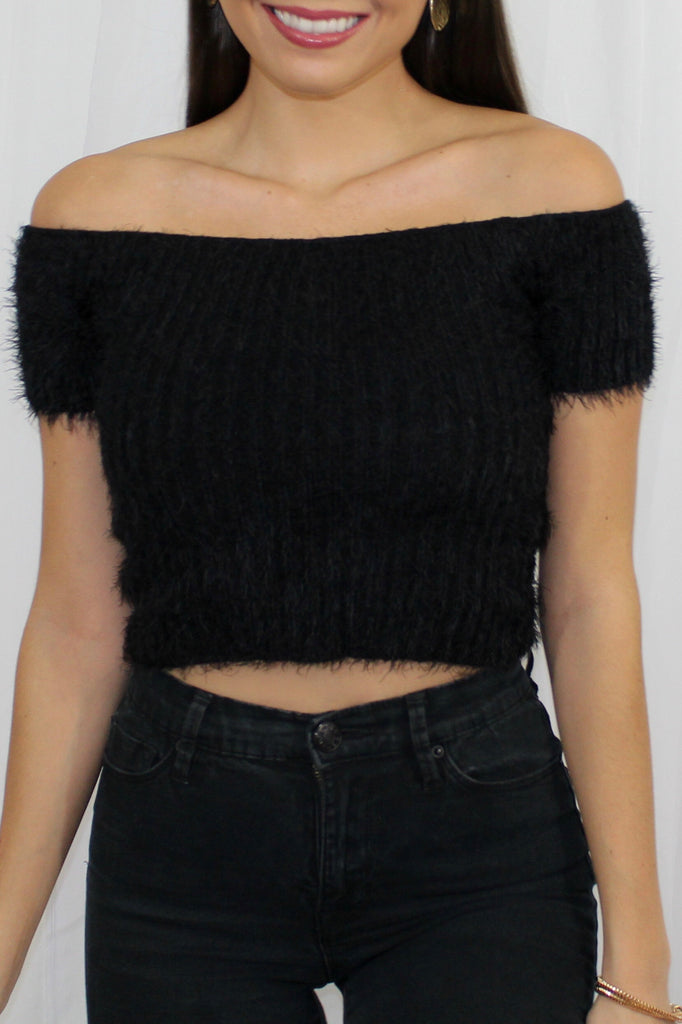 Fuzzy Off Shoulder Crop Top