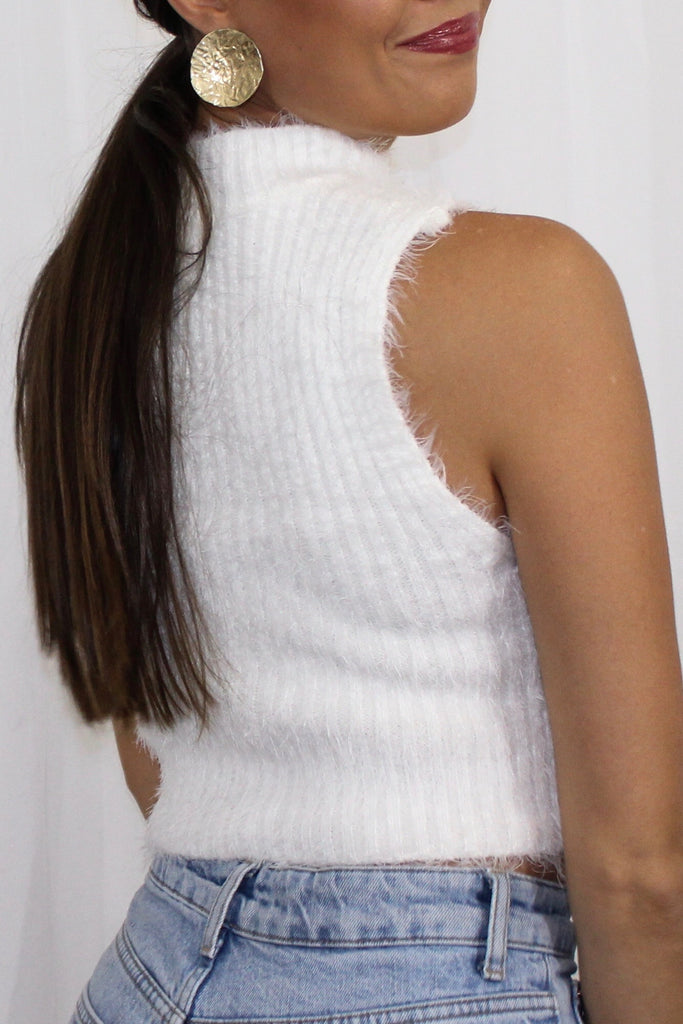 Fuzzy Mock Neck Crop Top