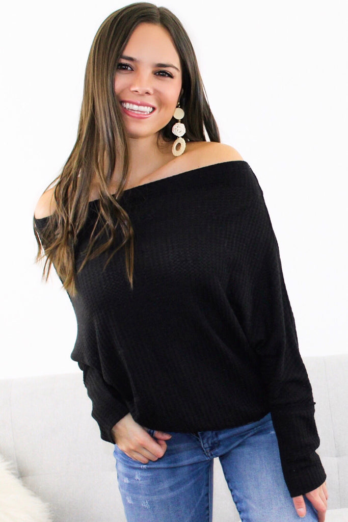 Off Shoulder Waffled Top -Black