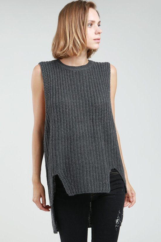Charcoal Sleeveless Sweater