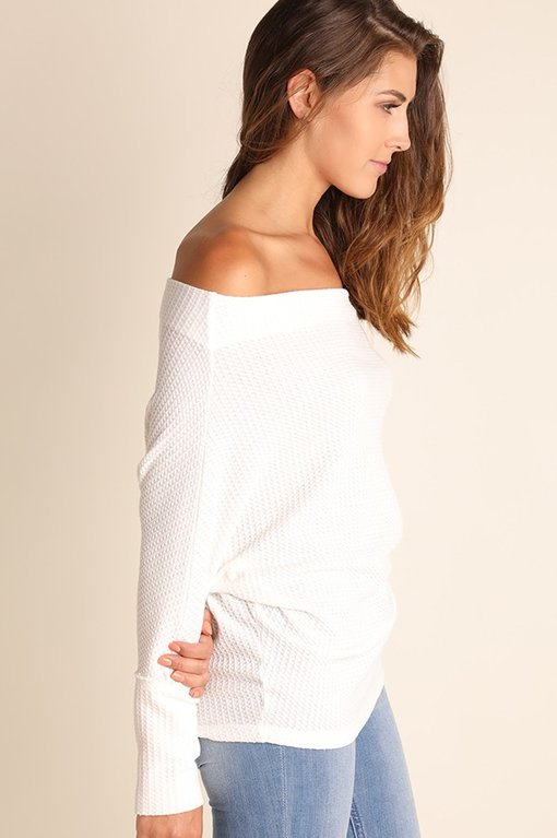 Off Shoulder Waffled Top -White