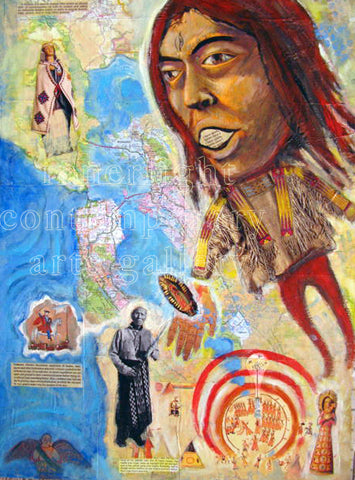 "H'omage to Shaman Seers and Healers 18"" x 24"" Oil Painting & Collage"