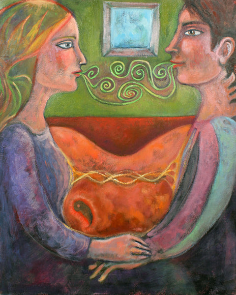 "Lovers the Art of Conversation of the Heart 24"" x 30"" Oil Painting"