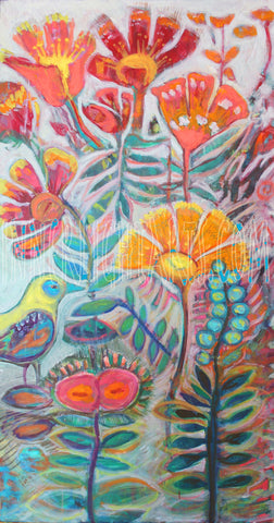 "Garden with Bird 18"" x 36""  Floral Oil Painting $1,250   •SOLD"