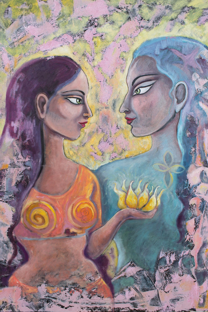 "Krishna & Radha Divine Lovers  30"" x 40"" Oil Painting"