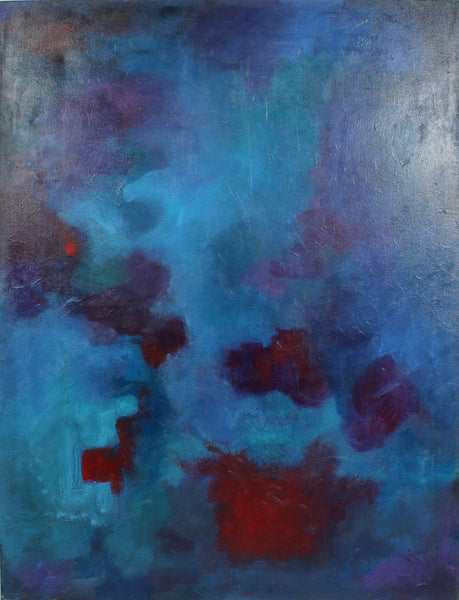 "Blues Fugue Abstract 30"" x 40"" Oil Painting Modern Art Contemporary Wall Art"
