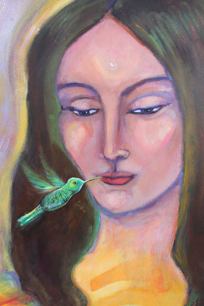 "Hummingbird Sweet Mouth Medicine  18"" x 24"" Oil Painting"
