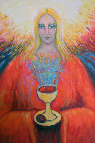 "Angel with Grail Cup Mystery of the Holy Grail 18"" x 24"" Oil Painting"