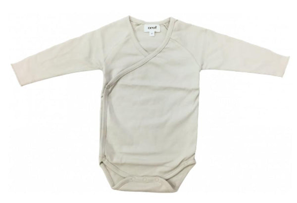 Organic Pima Cotton Kimono Bodysuit  Light Grey